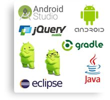 android programming lenguage sticker set Canvas Print