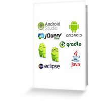 android programming lenguage sticker set Greeting Card