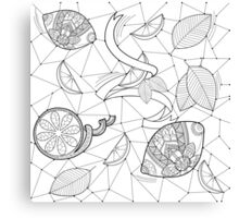 Pattern with lemons and leaves Canvas Print