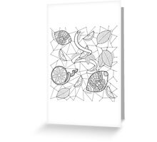 Pattern with lemons and leaves Greeting Card