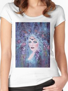 Fantasy portrait with flowers art by Renee Lavoie Women's Fitted Scoop T-Shirt