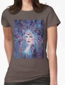 Fantasy portrait with flowers art by Renee Lavoie Womens Fitted T-Shirt