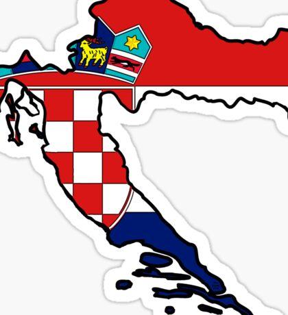 Croatia Map With Croat Flag Sticker