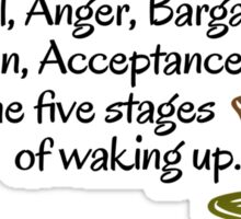 Denial, Anger, Bargaining, Depression, Acceptance. The five stages of waking up. Sticker