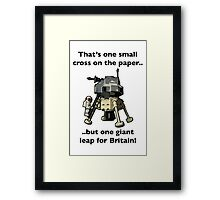 One small cross on the paper, but one giant leap for Britain Framed Print