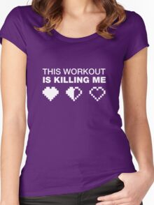 This Workout Is Killing Me, Funny Weight Lifting T-shirt for Gamers Women's Fitted Scoop T-Shirt
