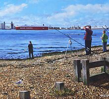 Winter Fishing at Weston Shore, Southampton by martyee