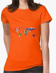 The World Flag Map Womens Fitted T-Shirt