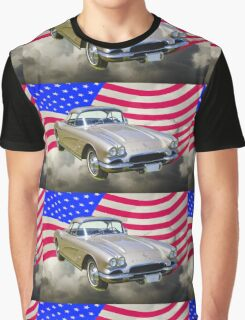 Silver1962 Chevrolet Corvette And American Flag Graphic T-Shirt