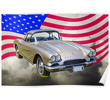 Silver1962 Chevrolet Corvette And American Flag Poster