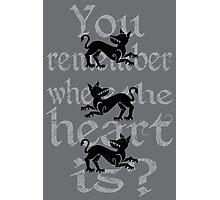 Clegane Sigil & Quote - Grey  Photographic Print