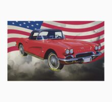1962 Chevrolet Corvette With United States Flag Kids Tee
