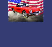 1962 Chevrolet Corvette With United States Flag Unisex T-Shirt