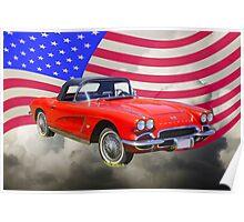 1962 Chevrolet Corvette With United States Flag Poster