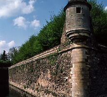Lookout tower on Wall enclosing Chateau Epoisses France 198405040065 by Fred Mitchell