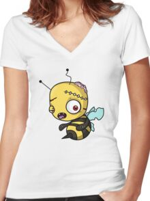 Bee zombie Women's Fitted V-Neck T-Shirt