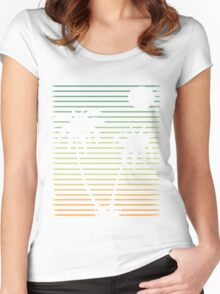 Distressed Beach Palms  Women's Fitted Scoop T-Shirt