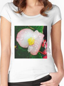 Flower Covered In Dew Women's Fitted Scoop T-Shirt