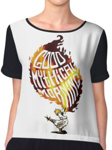 Realistic Flame Good Mythical Morning Logo Chiffon Top