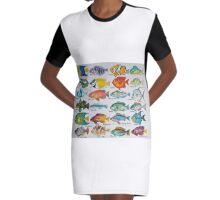 Fish Alphabet Watercolor Graphic T-Shirt Dress