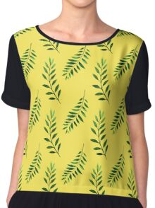 Watercolor Seamless pattern with green branches. Chiffon Top
