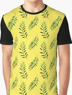 Watercolor Seamless pattern with green branches. Graphic T-Shirt