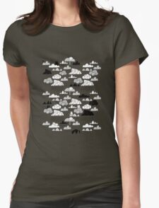 Doodle clouds and cats Womens Fitted T-Shirt