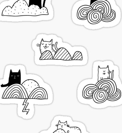 Doodle clouds and cats Sticker
