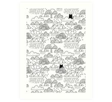 Doodle clouds and cats Art Print