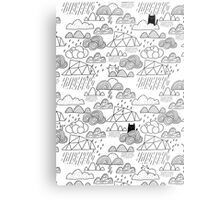 Doodle clouds and cats Metal Print