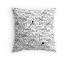 Doodle clouds and cats Throw Pillow
