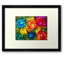 Floral Jumble alcohol ink painting Framed Print