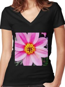 Yellow And Pink Flower Women's Fitted V-Neck T-Shirt
