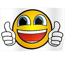 Awesome Emoji Thumbs Up Happy Smile Sticker Smiley Face Poster
