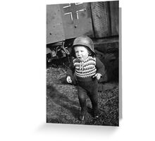 German Babe Playing Soldier During WW2 Greeting Card
