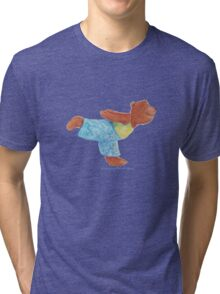 Grizzly Bear in Yoga Warrior three pose. Namaste Tri-blend T-Shirt