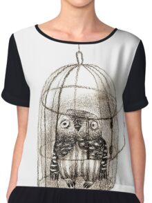 Baby Owl Sitting In a Birdcage Chiffon Top