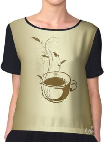 Coffee concept with floral design Chiffon Top