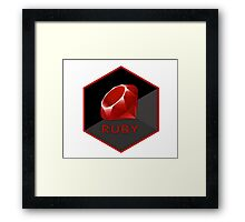 Ruby programming language hexagon sticker Framed Print