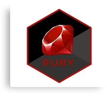Ruby programming language hexagon sticker Canvas Print