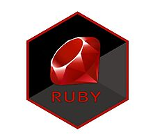 Ruby programming language hexagon sticker Photographic Print