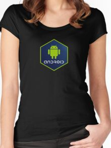 android programming language hexagon sticker Women's Fitted Scoop T-Shirt