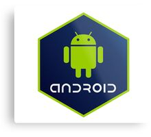 android programming language hexagon sticker Metal Print