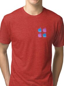 Blue and purple apple pattern Tri-blend T-Shirt