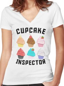 Cupcake Inspector Women's Fitted V-Neck T-Shirt