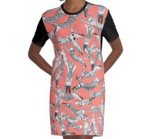 cat party blush coral Graphic T-Shirt Dress
