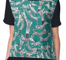 cat party teal blue Chiffon Top