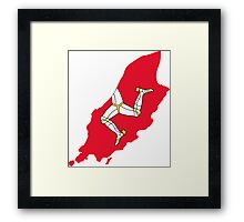 Flag Map of Isle of Man Framed Print