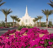 Gilbert Arizona Temple - Red Flowers by Ken Fortie