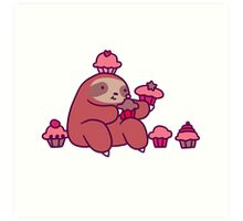 Sloth Eating Cupcakes Art Print